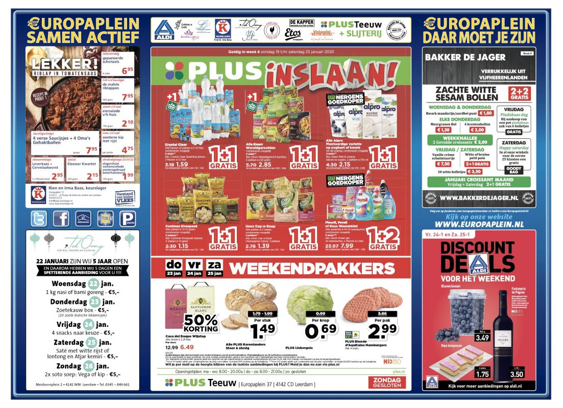 Wekelijkse aanbiedingen Europaplein Leerdam week 4 2020