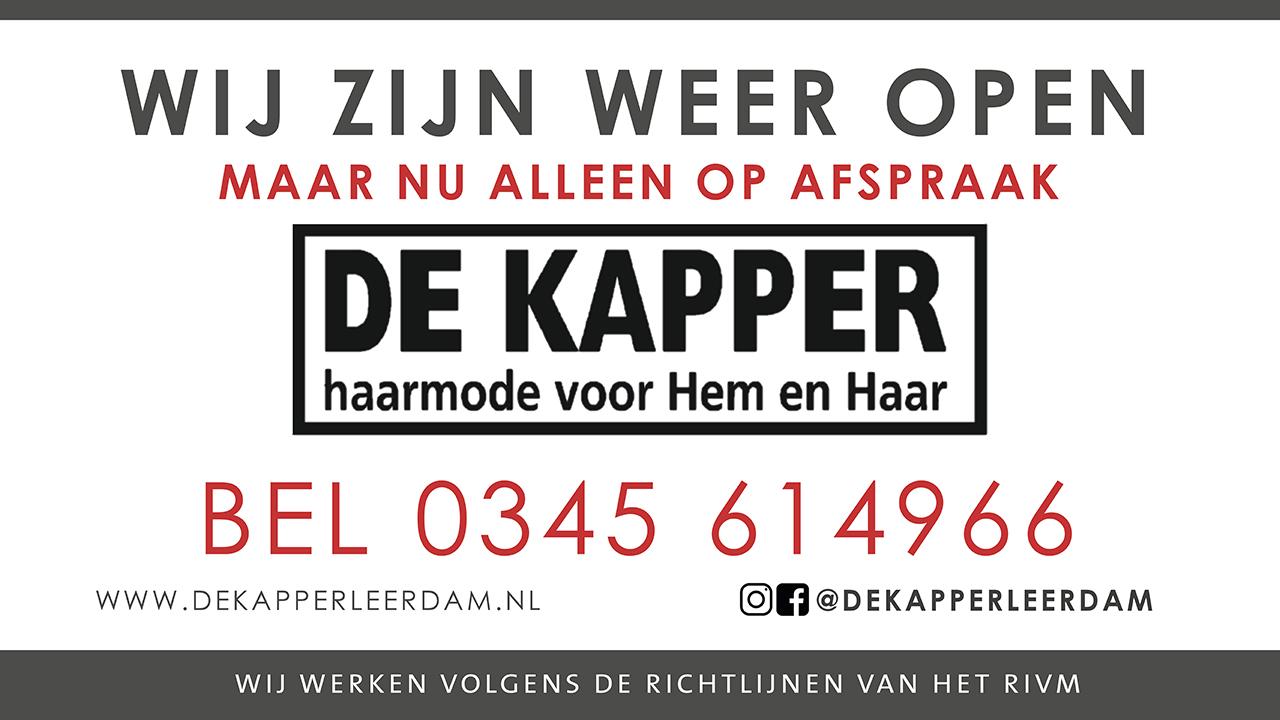 De Kapper Leerdam weer open